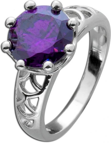 Amethystring lila violett  Sterling Silber 925 quadratisch rund Solitär  synth.