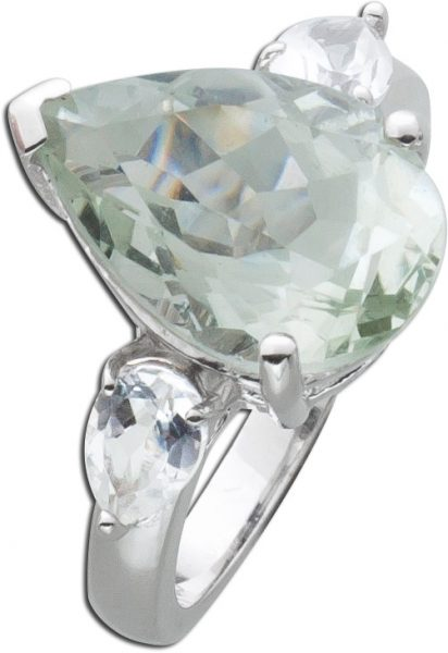 Grüner Amethyst Ring Sterling Silber 925  grünen tropfen runden Zirkonia