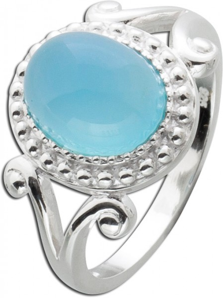 Hellblauer Chalcedon Ring Sterling Silbe...