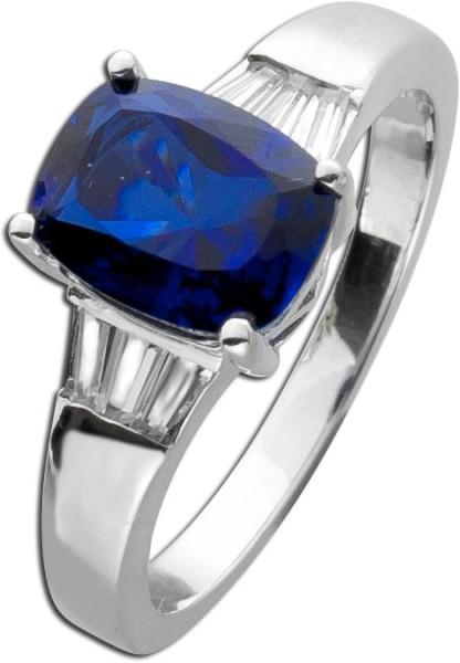 Nachtblauer Saphir Ring Sterling Silber ...