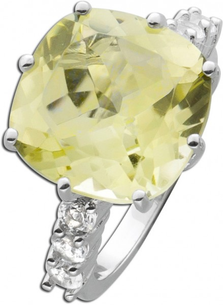 Grüner Quarz Ring  Silber 925 grosser Limonenquarzring  weisse Topase