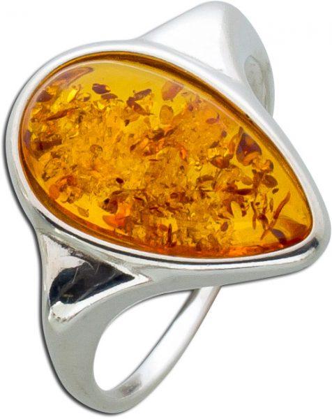 Bernstein Ringe Orange Braun  Cognac Sil...