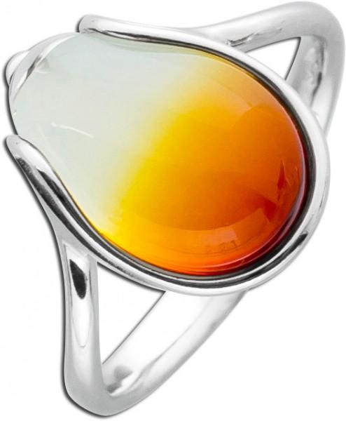 Bernsteinring orangefarbener Edelsteinring Silberring Silber 925 tropfenförmig Cabochon leichter Farbverlauf