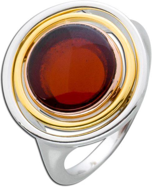 Roter Bernstein Ring Edelsteinring silberring dreifarbig Silber 925 rosé gelb vergoldet tricolor