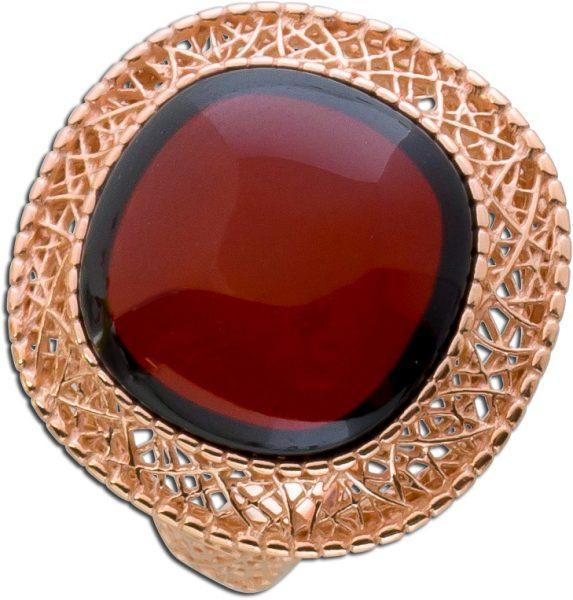 Roter Bernsteinring Cherry Amber Bernstein Edelsteinring rot  rose vergoldet Silber 925
