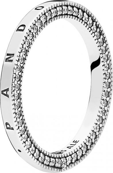 PANDORA SALE Ring 197437CZ PANDORA Signature Hearts of PANDORA Silber 925 klarer Zirkonia