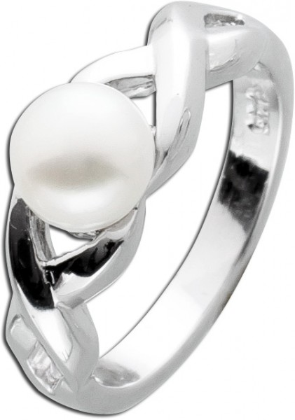 Perlenring weiss Silber 925 Süsswasserz...