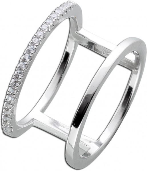 Offener Zrikoniaring  Silber 925 Damen Ring weisse Zirkonia Silberschmuck