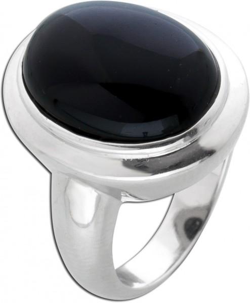 Edelstein schwarz Ring Silber 925 Onyx Damenring