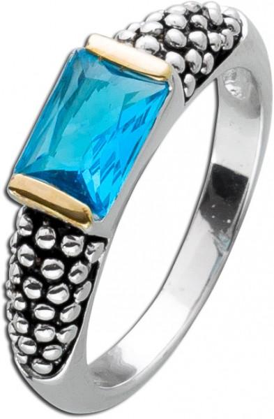 Solitär Zirkoniaring blau Silber 925 Ba...