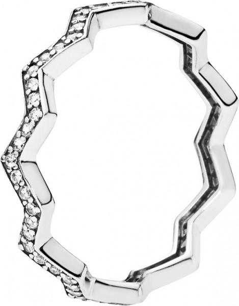 PANDORA SALE Ringe 197751CZ Shimmering Zigzag Silber 925 klare Zirkonia