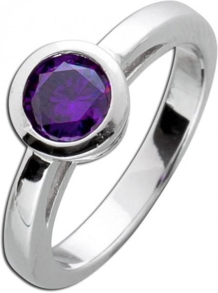 Solitär Ring Amethyst lila Silber 925 Beisteckring violett Zirkonia