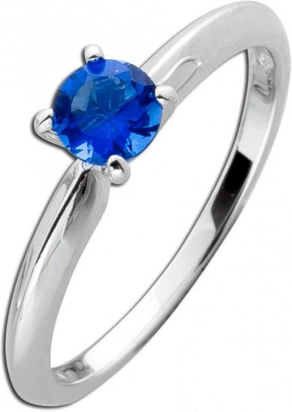 Blauer Solitär Ring Sterling Silber 925 Saphir blauer Zirkonia