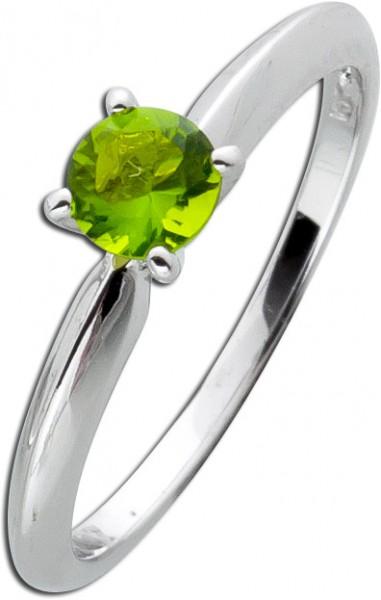 Solitär Ring Silber 925 grüner Peridot Beisteckring Zirkonia