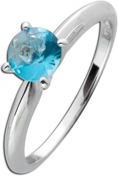 Solitär Ring blau Sterling Silber 925 V...