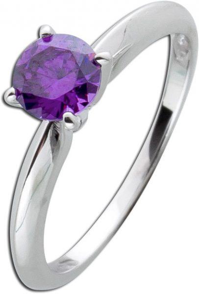 Solitär Ring Lila Sterling Silber 925 Violett Amethyst Zirkonia