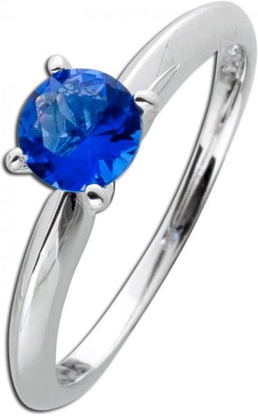 Solitär Ring dunkel blau Sterling Silber 925 Vorsteckring Safir Zirkonia