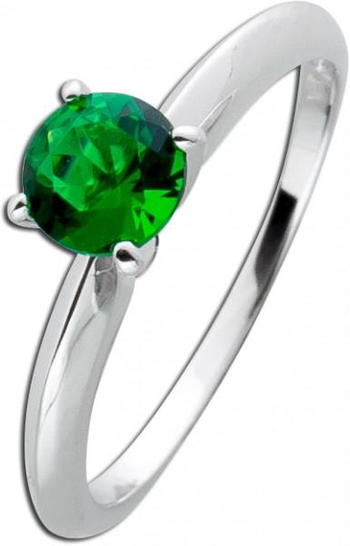 Solitär Ring gruen Sterling Silber 925 Smaragd Beisteckring´Zirkonia