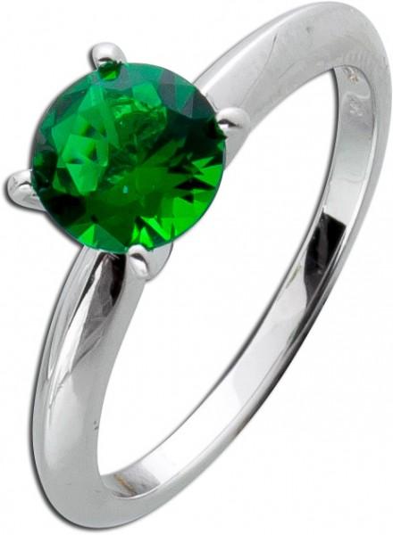 Solitär Ring grün Silber 925 Smaragd dunkel Beisteckring Zirkonia Sterling