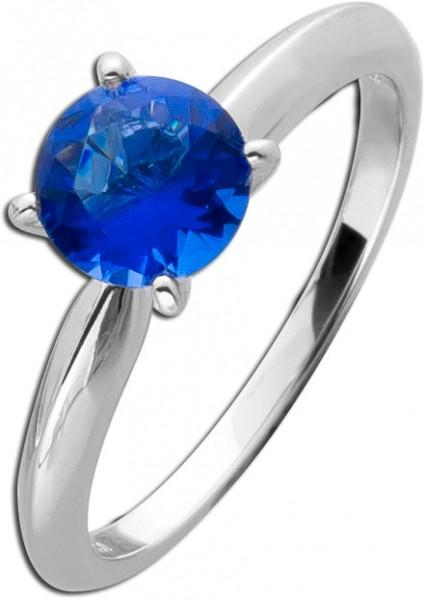 Solitär Ring dunkel blau Silber 925 Sap...