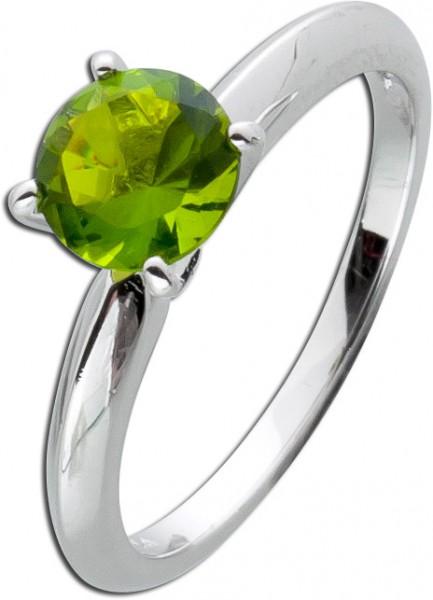 Solitär Ring grün Silber 925 Peridot Beisteckring Zirkonia Sterling
