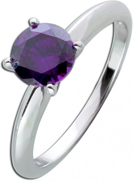 Solitär Ring lila Silber 925 violetter Amethyst Zirkonia Sterling