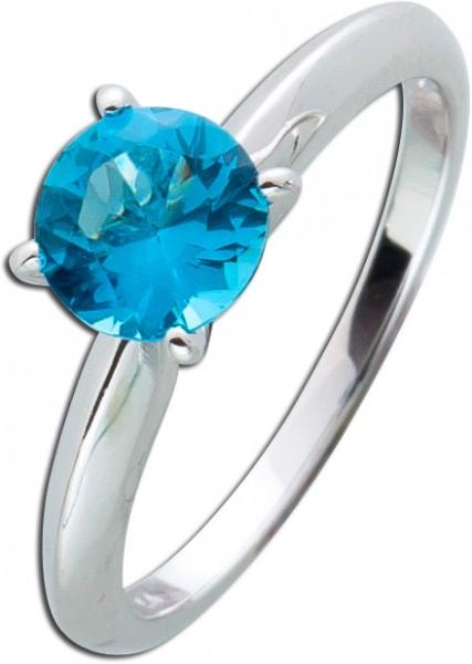 Solitär Ring blau Sterling Silber 925 B...