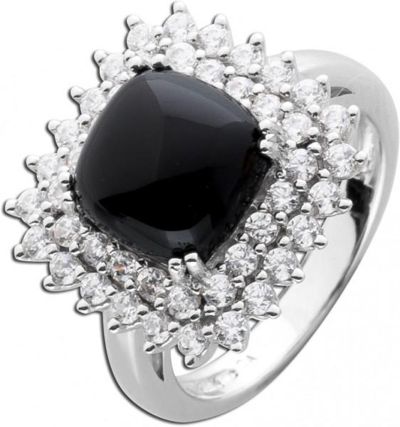 Onyxring schwarzer Edelsteinring Silberr...