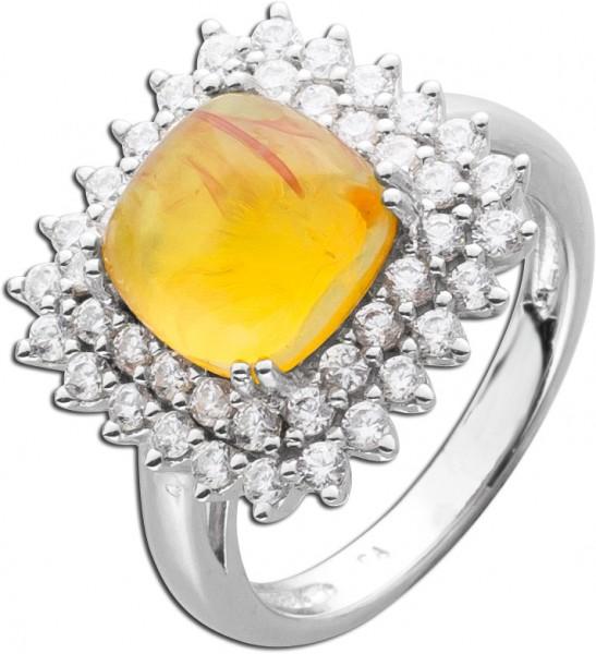 Gelber Bernsteinring Edelsteinring gelb orange Cabochonring Silber 925 klare Zirkonia