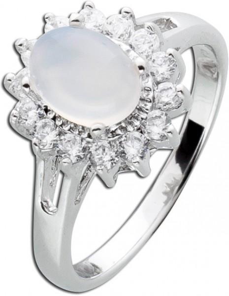 Edelstein weiß Ring Silber 925 Chalcedo...