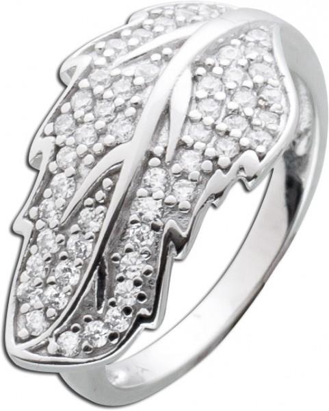 Blatt Ring Sterling Silber 925 weisse Zi...