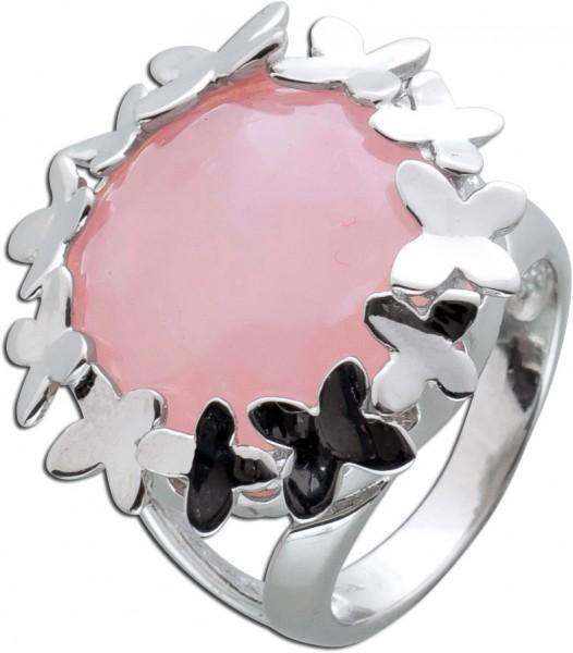Edelstein rosa Ring Silber 925 Rosenquar...