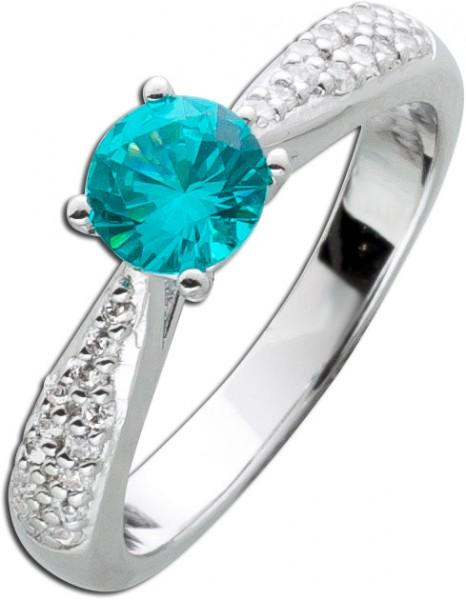 Turmalin Solitaer  Ring Silber 925 wasse...