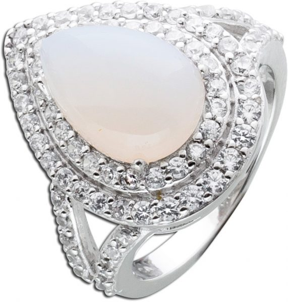Edelstein Ring weiß Silber 925 Chalcedon Cabochon Zirkonia