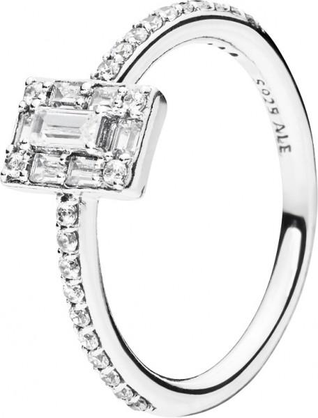 PANDORA SALE Ring 197541CZ Luminous Ice Sterling Silber 925 halber Memoire Zirkonia