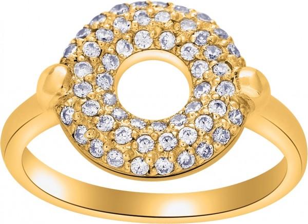 JOANLI NOR Damenring Silber 925 vergoldet klare Zirkonia Kristalle Calluna 108 003-3