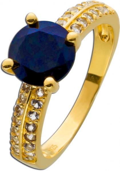 Edelstein Ring nachtblauen Saphir Silber 925 vergoldet Topasen