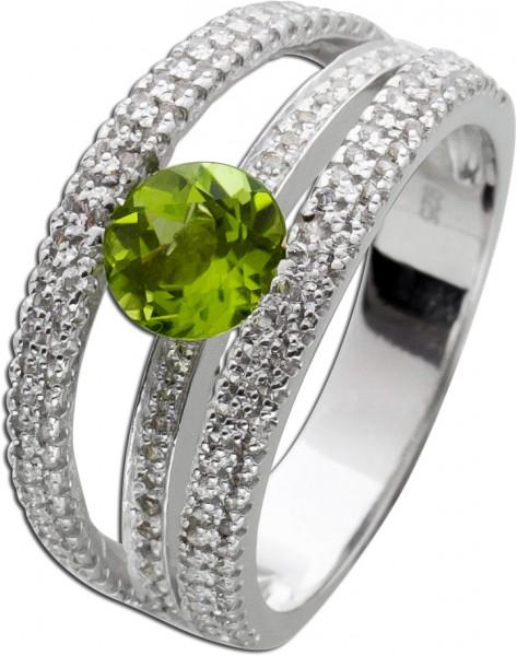 Silber Ring 925 grünen Peridot weißen Topasen