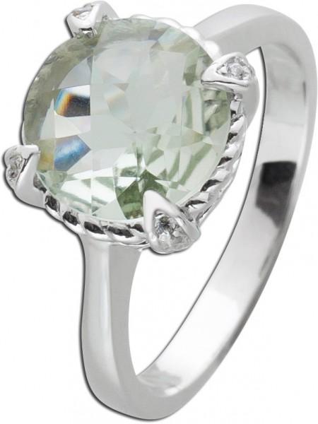 Edelstein Ring grünen Amethyst Silber 925 Zirkoniaschmuck