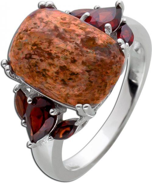 Edelstein Ring roten Granaten Sonnenstein Silber 925