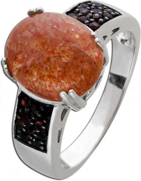 Edelstein Ring roten Granaten Silber 925 Sonnenstein
