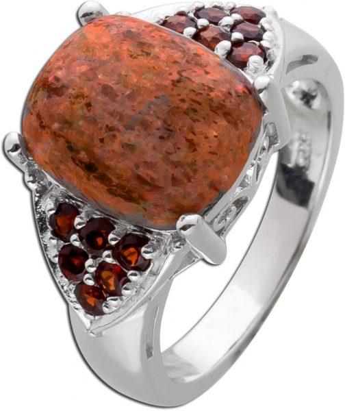 Roter Granat Ring Silber 925 Sonnenstein