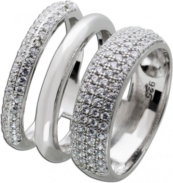Silber Ring 925 weißen Zirkonia Damenschmuck