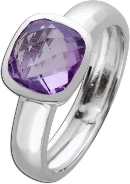 Edelstein lila Ring Silber 925 Amethyst Solitär Silberring