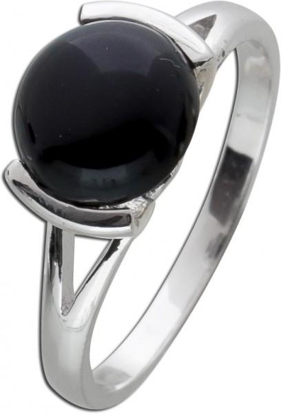 Edelstein schwarz Ring Silber 925 Onyx Cabochon Edelsteinring
