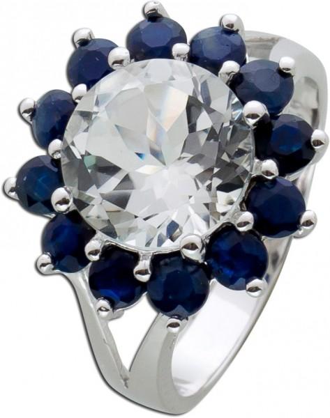 Edelstein Ring blau weiß Silber 925 Saphir Topas Blume Silberring