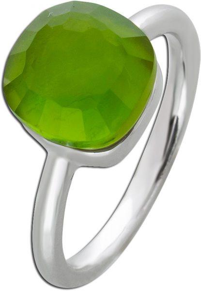 Ring Silber 925 Perlmutt grün Zirkonia Silberring Toyo Yamamoto