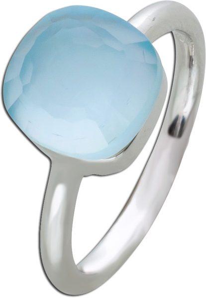 Silberring Ring Perlmutt Silber 925 blau Zirkonia Toyo Yamamoto