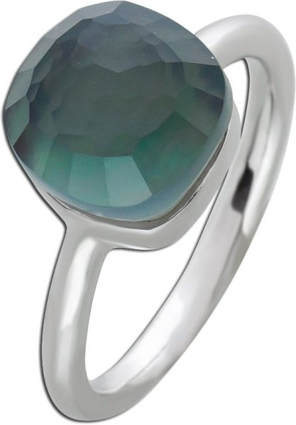 Perlmutt Ring Silber 925 grau Zirkonia Silberring Toyo Yamamoto