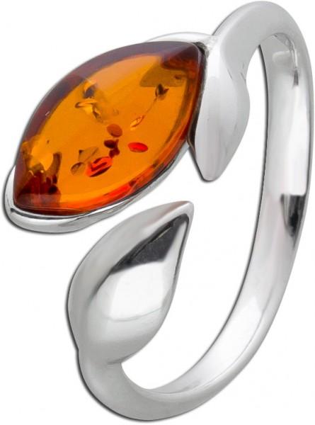 Navetteförmiger Bernstein Ring Silber 925 brauner Edelstein Cabochon